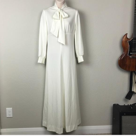 Vintage Dresses | Vtg 70s High Neck Long Sleeve Granny Maxi Dress ...